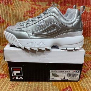 Fila Disruptor II Premium Sneakers Metallic Silver